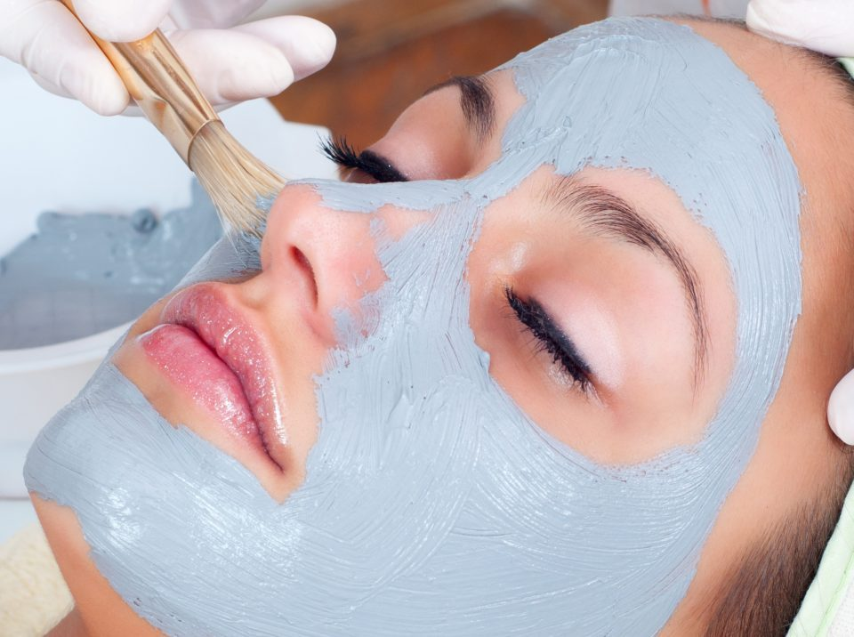 Blue Facial Mask Being Applied